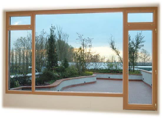 Infissi in legno/alluminio con apertura scorrevole