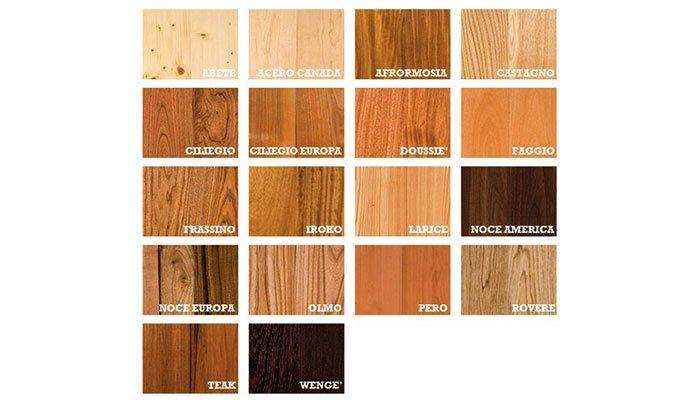 persiane in legno essenze principali