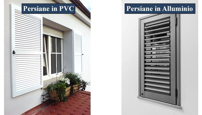 persiane in alluminio o in pvc differenze