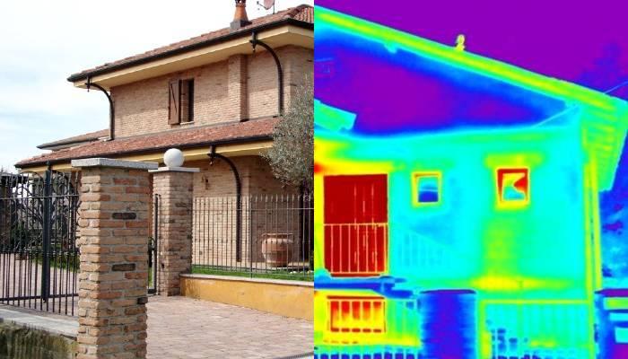 Trasmittanza termica degli infissi sulle pareti perimetrali di una villa